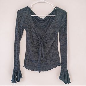 """Free People Navy & Gold """"Say When"""" Top"""